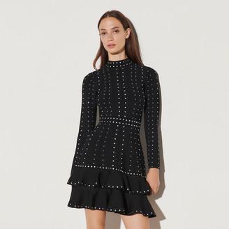 Sandro Short knit dress with rhinestones