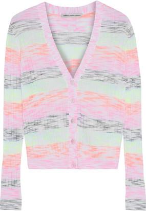 Cotton By Autumn Cashmere Striped Melange Ribbed Cotton-blend Cardigan