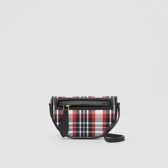 Burberry Tartan Nylon Olympia Card Case with Detachable Strap