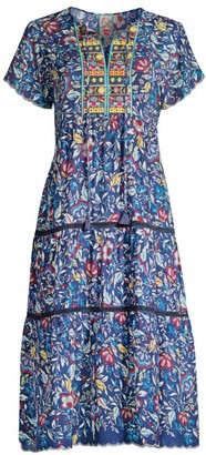 Johnny Was Holly Floral A-Line Tassel Dress