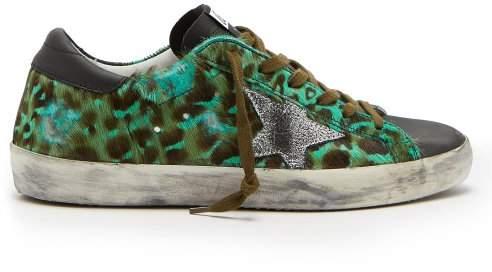 Golden Goose Superstar Leopard Print Calf Hair Low Top Trainers - Womens - Green Multi