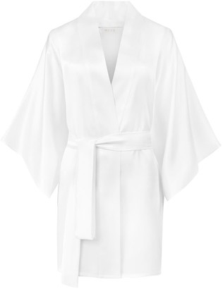 Moye Silk Robe Kimono Style - White