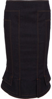 Tom Ford Fluted Denim Pencil Skirt - Dark denim