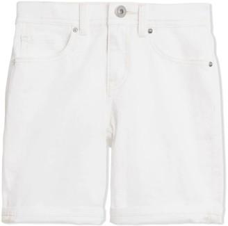 Burberry White Cotton Stretch Denim Shorts
