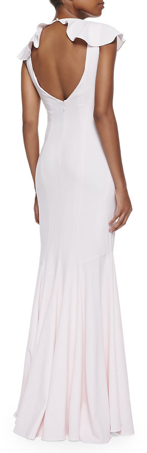 Zac Posen Flutter Sleeve Fit & Flare Gown