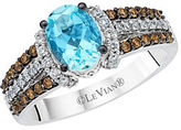 LeVian Chocolatier Vanilla Diamond, Chocolate Diamond, Aquamarine and 14K White Gold Ring