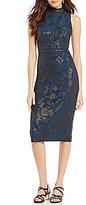Sangria Metallic Foil Midi Dress
