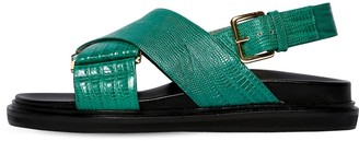 Marni 30mm Crisscross Embossed Leather Sandals