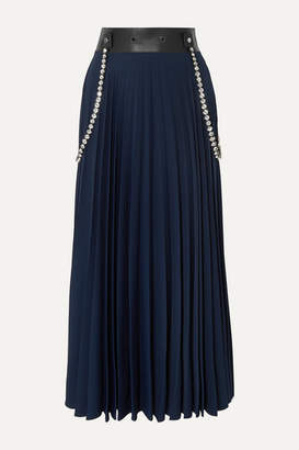 Christopher Kane Embellished Leather-trimmed Pleated Cady Maxi Skirt - Navy