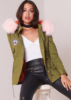 Missy Empire Jade Pink Faux Fur Hood Badge Detail Parka