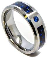 Chip Unlimited 8mm & Black Carbon Fiber Tungsten Carbide Wedding Band with Sapphire CZ Engagement Ring Size 9.5