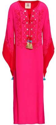 Figue Embellished Embroidered Silk Crepe De Chine Kaftan