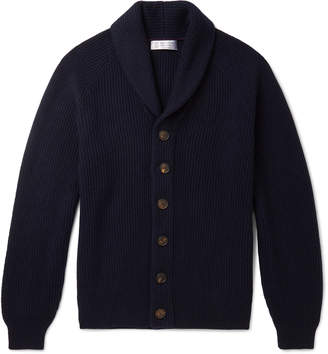 Brunello Cucinelli Shawl-Collar Ribbed Cashmere Cardigan
