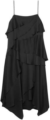 Grey Jason Wu Layered Washed-satin Midi Dress