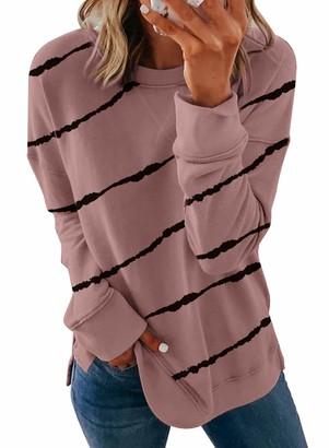 HOTAPEI Womens Fashion Crewneck Tie Dye Grey Sweatshirt Striped Printed Oversized Loose Soft Long Sleeve Fall Pullover Tops Shirts Hoodies & Sweatshirts for Women Teen Girls UK Size 10 12