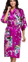 FLYCHEN Women's Satin Dressing Gowns Peacock and Blossoms Kimono Robes US 24-26 6XL