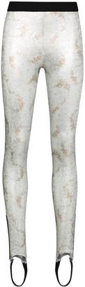 Paco Rabanne Metallic-Finish Stirrup-Cuff Leggings