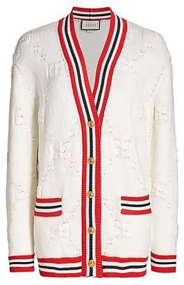 Gucci Wool & Silk GG Intarsia V-Neck Cardigan
