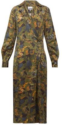 Ganni Camouflage-print Satin Wrap Dress - Womens - Khaki