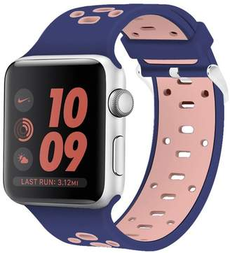 POSH TECH Blue/Pink Breathable Silicone 42mm Apple Watch 1/2/3/4 Sport Band