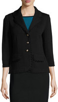 St. John Santana Embellished Three-Button Blazer, Black