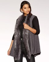 Quiz Faux Fur Trim Waistcoat