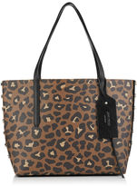 Jimmy Choo TWIST EAST WEST Hazelnut Mix Leopard Print Coated Canvas and Grainy Calf Tote Bag