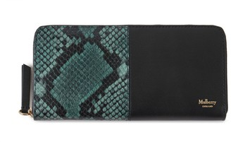 Mulberry 8 Card Zip Around Wallet Green Python Print Leather and Silky Calf