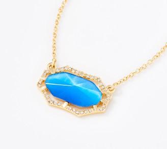 Vince Camuto Goldtone Framed Luminescent Blue Necklace