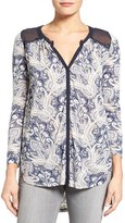 Lucky Brand Women's Sheer Contrast Print Knit Top