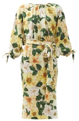 Dolce & Gabbana Camellia-print Silk-blend Charmeuse Midi Dress - Yellow Multi