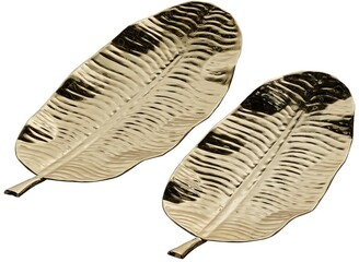 Willow Row Small Leaf Shaped Display & Serving Steel Trays in Metallic Gold Finish, 2-Piece Set