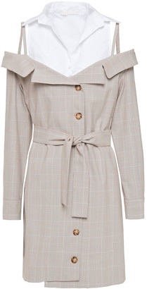 Maje Cold-shoulder Cotton Poplin-paneled Checked Woven Mini Dress