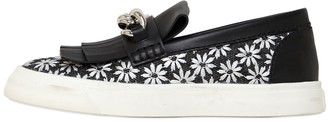 Giuseppe Zanotti Chained Daisy Canvas Slip On Sneakers