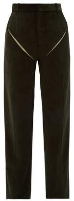 Y/Project Cut Out Cotton Corduroy Trousers - Mens - Dark Green