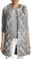 Neiman Marcus Fur-Trim Knit Vest, Gray Smoke