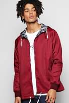 boohoo Hooded Cotton Harrington Jacket burgundy