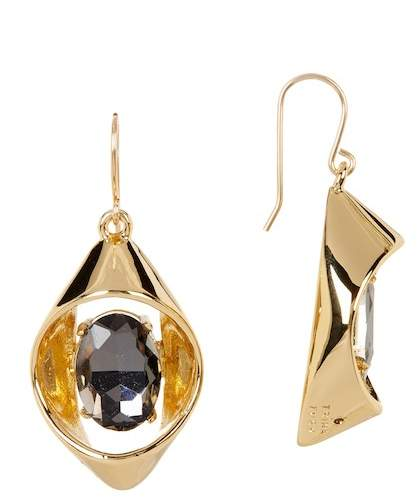 Trina Turk Open Faceted Oval Stone Drop Earrings