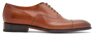 Santoni Grained-leather Oxford Shoes - Tan