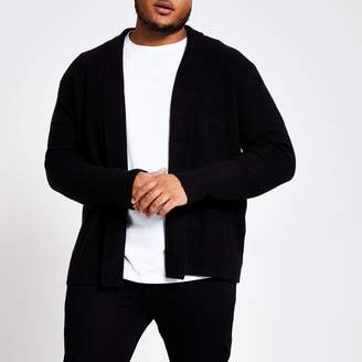 River Island Mens Big and Tall Black foldback collar cardigan