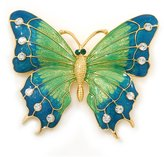 Avalaya Oversized Teal Green/ Salad Green Enamel Butterfly Brooch (Gold Tone Metal) - 80mm Across