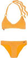 Stella McCartney Embellished Crocheted Stretch Cotton-blend Bikini - Mustard
