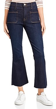 Frame Le Bardot Crop Flare Raw-Edge Jeans in Sutherland
