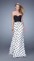 La Femme Polka Dot Long Chiffon Prom Dress 21359