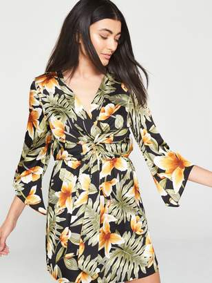 AX Paris Tropical Print Knot Front Dress - Multi