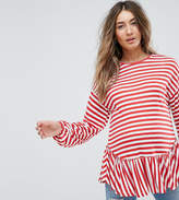 Asos Smock Top With Balloon Sleeve In Stripe