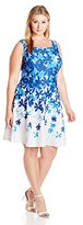 Julian Taylor Women's Plus-Size Floral Printed Fit-and-Flare Dress