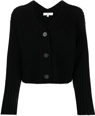 Vince Ribbed-Knit Cropped Cardigan