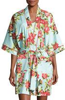 BedHead Hibiscus Floral-Print Short Kimono Robe, Multicolor