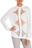 Alexis Mabille Long Sleeve Lace Inset Shirt